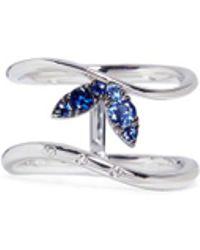 FerrariFirenze - 'corolla' Diamond Sapphire 18k White Gold Two-row Ring - Lyst