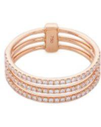Messika - 'gatsby 3 Rows' Diamond 18k Rose Gold Ring - Lyst