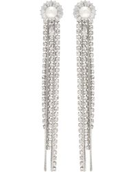 Venna - Floral Stud Glass Crystal Chain Fringe Drop Earrings - Lyst