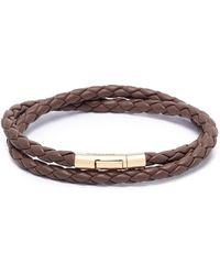 Tateossian - Double Wrap Braided Leather 18k Gold Bracelet - Lyst