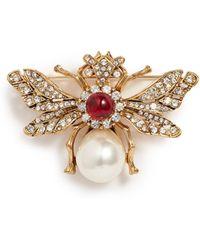 Kenneth Jay Lane - Cabochon Glass Crystal Glass Pearl Bee Brooch - Lyst