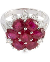 LC COLLECTION - Diamond Ruby 18k White Gold Floral Ring - Lyst