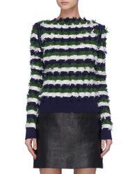 Sonia Rykiel - Zip Shoulder Fil Coupé Stripe Sweater - Lyst