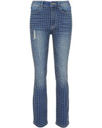 Alice + Olivia - 'fabrice' Glass Crystal Skinny Bootcut Jeans - Lyst
