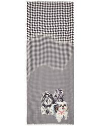 Pashma | 'fluffy Dog' Print Houndstooth Scarf | Lyst