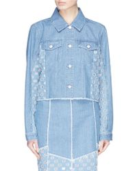 J Brand - 'cyra' Polka Dot Panel Cropped Denim Jacket - Lyst