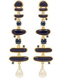 Kenneth Jay Lane - Glass Crystal Pearl Enamel Abstract Link Drop Earrings - Lyst