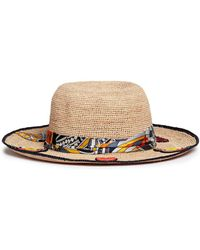 Venna - Graphic Print Scarf Cartoon Patch Panama Hat - Lyst