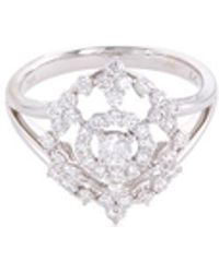 LC COLLECTION - Diamond 18k White Gold Lattice Charm Ring - Lyst