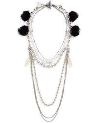Venna - Multi Chain Pompom Necklace - Lyst