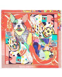 Pashma - Dog Collage Print Silk Satin Scarf - Lyst