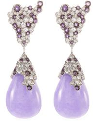 Roberto Coin   Diamond Jade 18k White Gold Teardrop Earrings   Lyst