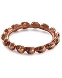Delfina Delettrez - Diamond 18k Rose Gold Skull Ring - Lyst