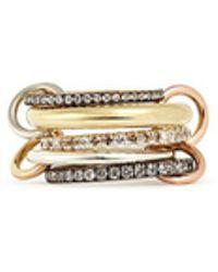 Spinelli Kilcollin - 'nexus' Diamond 18k Gold Five Link Ring - Lyst