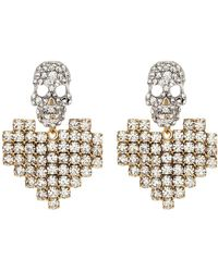 Venna - Detachable Glass Crystal Heart Drop Skull Stud Earrings - Lyst