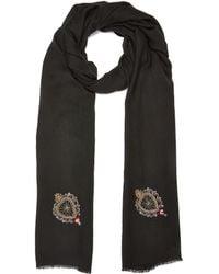 Janavi - 'sacred Hearts' Embellished Merino Wool Scarf - Lyst