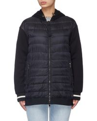 Moncler - 'maglia' Jersey Panel Down Puffer Zip Hoodie - Lyst