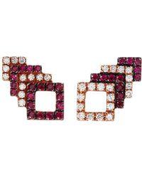 Khai Khai - 'square Stack' Diamond Ruby 18k Rose Gold Stud Earrings - Lyst