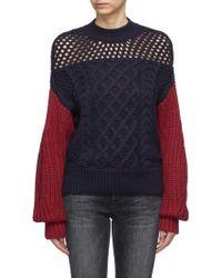 Self-Portrait - Colourblock Cotton-wool Mix Knit Jumper - Lyst