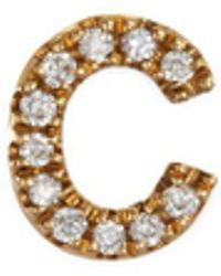 Loquet London | Diamond 18k Yellow Gold Letter Charm – C | Lyst