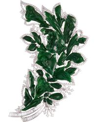 LC COLLECTION | Diamond Jade 18k Gold Floral Brooch | Lyst