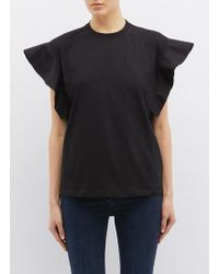 Victoria, Victoria Beckham - Ruffle Fluted Sleeves T-shirt - Lyst