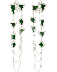 LC COLLECTION - Diamond Jade 18k White Gold Chain Drop Earrings - Lyst