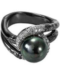 John Hardy - Diamond Tahitian Pearl Rhodium Silver Bamboo Ring - Lyst