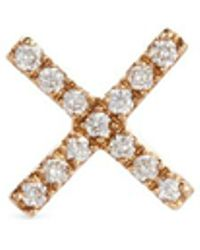 Loquet London - 'x' Diamond 14k Yellow Gold Single Stud Earring – Send A Kiss - Lyst
