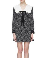5c8871bed8d Miu Miu - Ruffle Tie Yoke Graphic Print Silk Pussybow Dress - Lyst