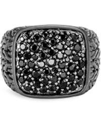 John Hardy - 'classic Chain' Sapphire Rhodium Silver Signet Ring - Lyst