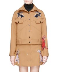 Helen Lee - 'identified' Slogan Patch Bunny Embroidered Crepe Jacket - Lyst