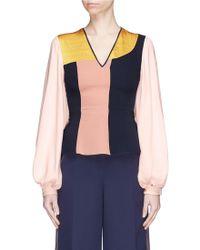 ROKSANDA - Colourblock Bell Sleeve Silk Georgette V-neck Top - Lyst