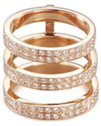 Repossi - 'berbère' Diamond 18k Rose Gold Three Row Phalanx Ring - Lyst