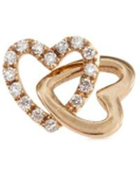 Loquet London - 'linked Hearts' Diamond 14k Yellow Gold Single Stud Earring – Always Together - Lyst