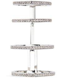 Repossi - 'antifer' Diamond 18k White Gold Four Row Linked Ring - Lyst