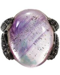 John Hardy - 'celestial Orb' Sapphire Amethyst Mother Of Pearl Silver Ring - Lyst