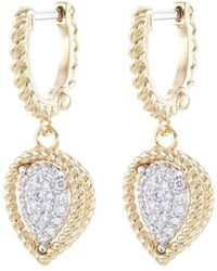 Roberto Coin - 'new Barocco' Diamond 18k Yellow And White Gold Drop Earrings - Lyst