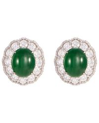 LC COLLECTION - Diamond Jade 18k White Gold Scallop Earrings - Lyst