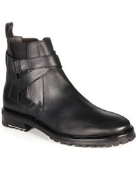 Lanvin - Crossover-Strap Leather Ankle Boots - Lyst