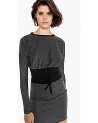 La Redoute - Striped Metallic Corset Dress - Lyst