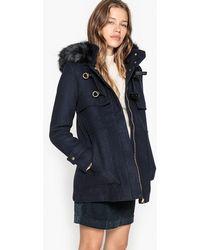 La Redoute - Fake Fur Hooded Duffel Coat - Lyst