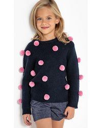 La Redoute - Fine Gauge Knit Jumper/sweater With Pom Poms, 3-12 Years - Lyst