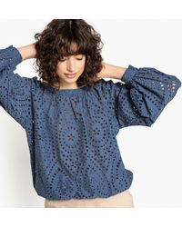 La Redoute - Openwork Cotton Blouse With Puff Sleeves - Lyst