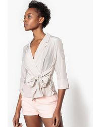 La Redoute - Tie Waist Blouse With Tailored Collar - Lyst