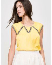 Color Block - Sleeveless Round Neck Blouse - Lyst