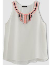 Color Block - Linen Shell Top With Bib Front - Lyst