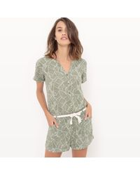 Le Temps Des Cerises - Printed Playsuit With Belt - Lyst