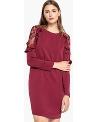 Best Mountain - Round Neck Dress With Ruffles And Lace At The Shoulders - Lyst