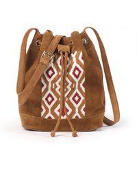 La Redoute - Suede Bucket Bag With Motif - Lyst